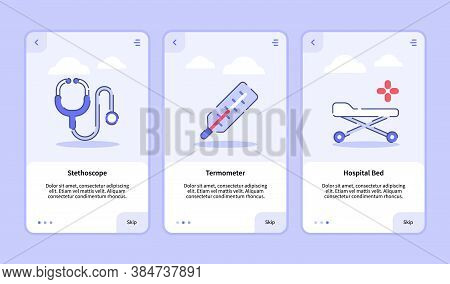 Medical Icon Stethoscope Thermometer Hospital Bed Onboarding Screen For Mobile Apps Template Banner
