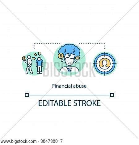 Financial Abuse Concept Icon. Interest On The Banking Loan. Accounts Payables Idea Thin Line Illustr