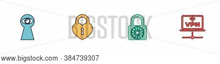 Set Keyhole With Eye, Castle In The Shape Of Heart, Safe Combination Lock Wheel And Vpn Computer Net