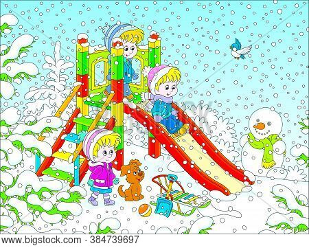Little Children Playing On A Slide At A Snow-covered Playground In A Winter Park On A Snowy Day, Vec
