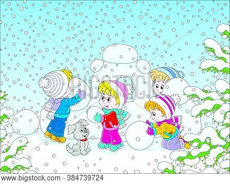 Small Children Building A Snow Fortress On A Playground In A Winter Snow-covered Park, Vector Cartoo