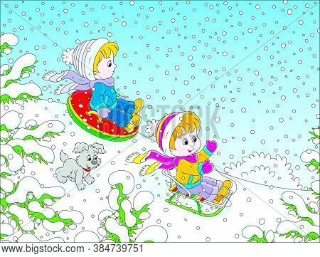 Small Children Sledding Down A Snow Hill In A Snow-covered Winter Park, Vector Cartoon Illustration