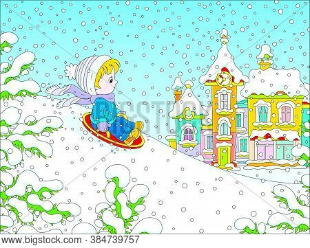 Small Child Sledding Down A Snow Hill On A Playground In A Winter Park Of A Town, Vector Cartoon Ill