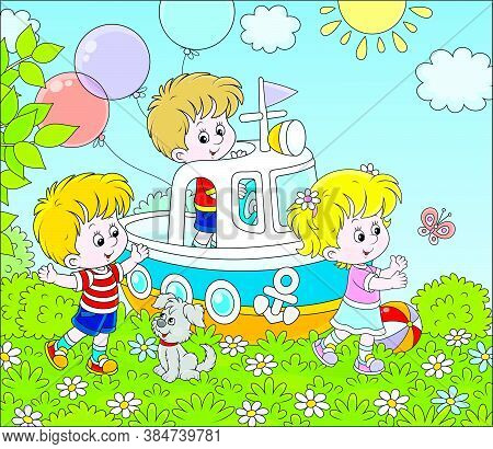 Little Children And Their Puppy Playing On A Toy Ship On A Playground In A Summer Park, Vector Carto