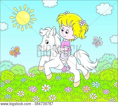 Little Cute Girl Riding A White Pony On A Green Field With Flowers On A Sunny Day, Vector Cartoon Il