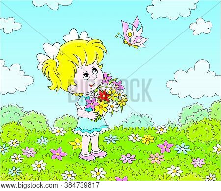 Cute Little Girl With A Colorful Bouquet Of Wildflowers Looking At A Butterfly Flittering Over A Gre