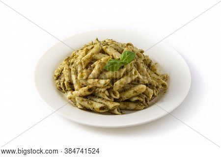 Penne Pasta With Pesto Sauce Isolated On White Background