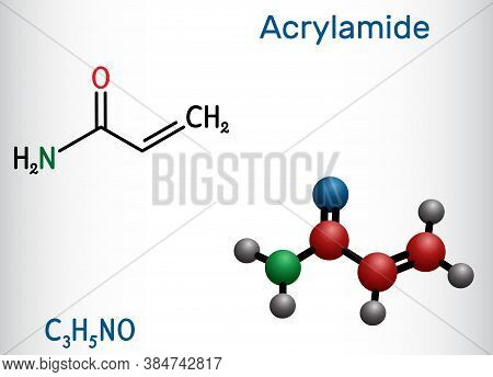 Acrylamide, Acr, Acrylic Amide Molecule. It Is As A Precursor To Polyacrylamides. Structural Chemica