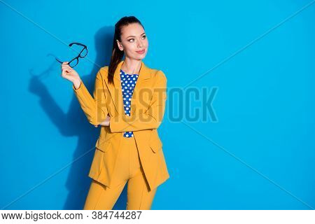 Portrait Of Her She Nice-looking Attractive Lovely Pretty Classy Chic Lady Holding In Hands Specs Ov