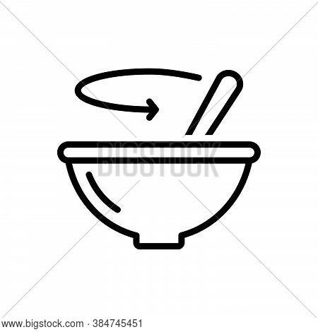 Black Line Icon For Stir Bustling Bustle Ado Paddle Mix Blend Dishware