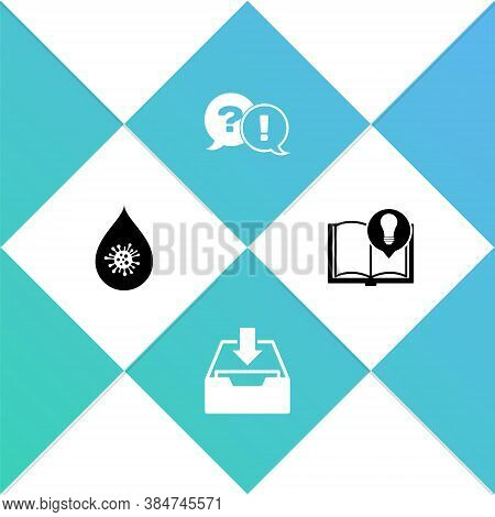 Set Dirty Water Drop, Download Inbox, Question And Exclamation And Interesting Facts Icon. Vector
