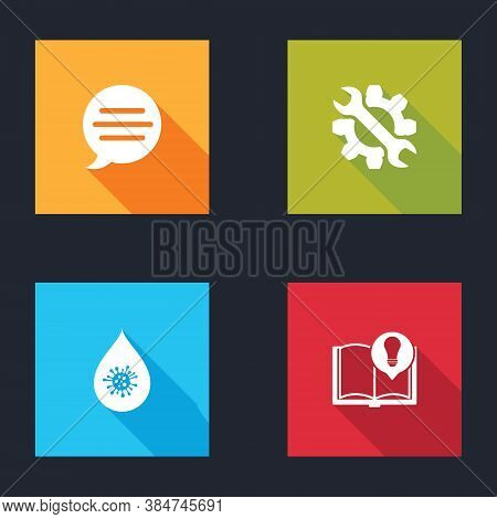 Set Speech Bubble Chat, Wrench And Gear, Dirty Water Drop And Interesting Facts Icon. Vector
