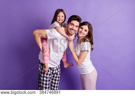 Portrait Of Three Person Cheerful Cheery Adorable Playful Full Family Dad Carrying Offspring Daughte