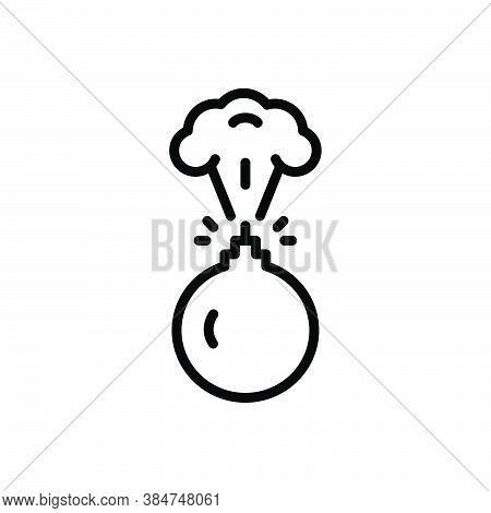 Black Line Icon For Bombing Destruction Bombs Blast Conflict Danger Destruction Explosion Fire Risk
