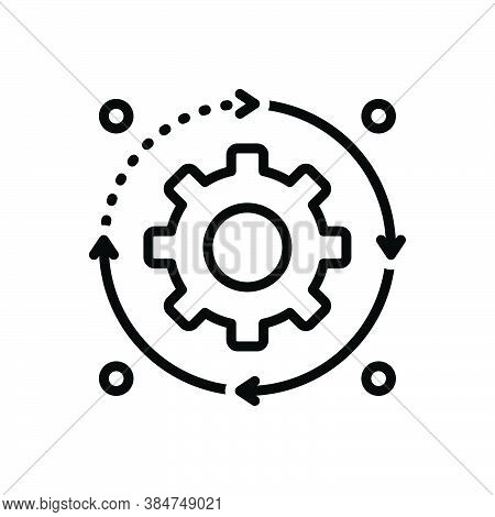 Black Line Icon For Process Procedure Action Movement Proceeding Progress Cogwheel Machine Power Eff
