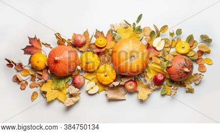 Banner Of Autumn Harvest, Pumpkins, Apples, Leaves On Grey. View From Above. Centerpieces Thanksgivi