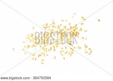Bulgur, Bulgour Or Bulghur Scattered Isolated On White Background