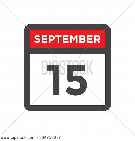 September 15 Calendar Icon With Day & Month Calendar Date