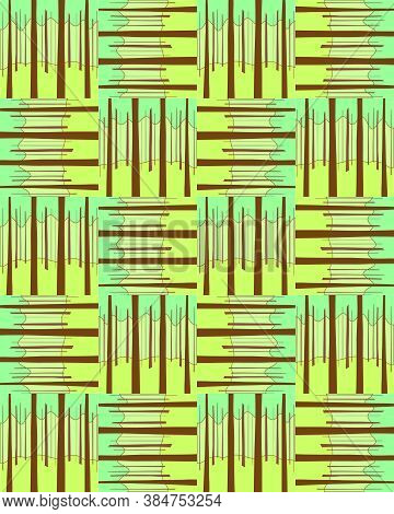 Vector Illustration Of A Seamless Geometric Forest Pattern. Natural Organic Background