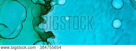Abstract Teal Background. Alcohol Ink Landscape. Blue Underwater Texture. Sophisticated Color Paint.