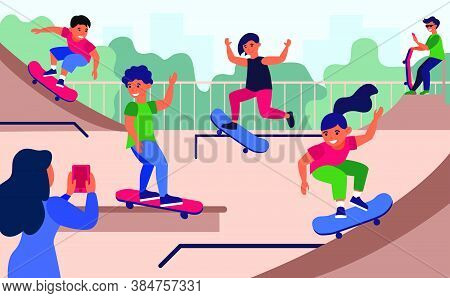 Teenagers At Skateboard Park Flat Vector Illustration. Cartoon Girls And Boys Jumping And Doing Tric