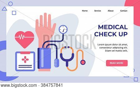 Medical Check Up Ecg Tensimeter Stethoscope Campaign For Web Website Home Homepage Landing Page Temp