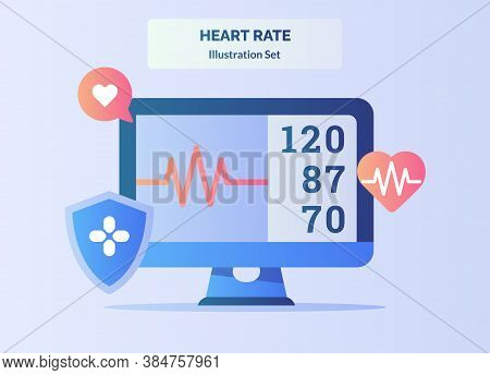 Heart Rate Beat Monitor Electrocardiogram With Flat Color Style