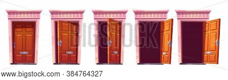 Opening Wooden Front Door With Stone Frame Isolated On White Background. Vector Cartoon Set Of House