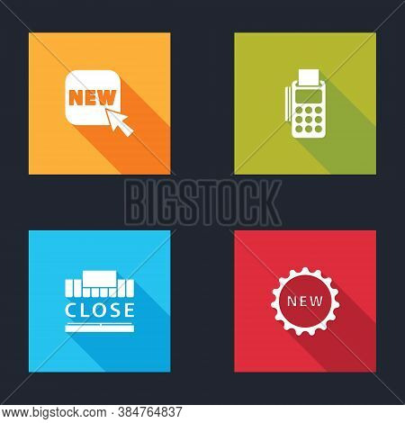 Set Button With Text New, Pos Terminal Credit Card, Shopping Building And Closed And Price Tag Icon.