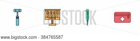 Set Neurology Reflex Hammer, Eye Test Chart, Medical Thermometer And First Aid Kit Icon. Vector