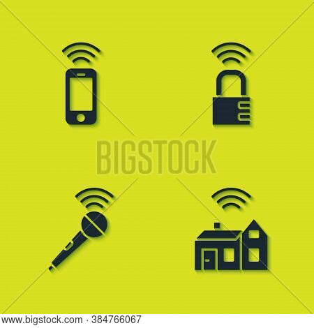 Set Wireless Smartphone, Smart Home With Wireless, Microphone And Safe Combination Lock Icon. Vector