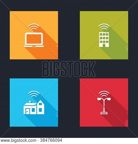 Set Wireless Laptop, Smart Home With Wireless, And Street Light Icon. Vector