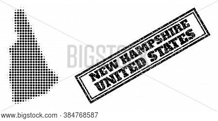 Halftone Map Of New Hampshire State, And Scratched Watermark. Halftone Map Of New Hampshire State Ma