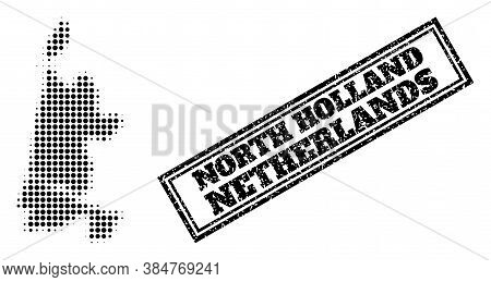 Halftone Map Of North Holland, And Unclean Seal. Halftone Map Of North Holland Generated With Small