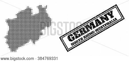 Halftone Map Of North Rhine-westphalia State, And Grunge Seal Stamp. Halftone Map Of North Rhine-wes