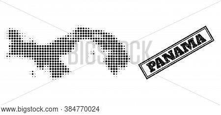 Halftone Map Of Panama, And Grunge Seal Stamp. Halftone Map Of Panama Generated With Small Black Cir
