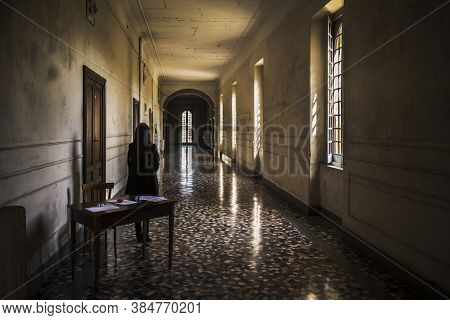 Internal Space Into The Abandoned Insane Asylum, Leonardo Bianchi, In Naples, Italy.