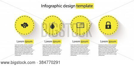 Set Cloud Computing Lock, Bomb Ready To Explode, Safe And Lock. Business Infographic Template. Vecto