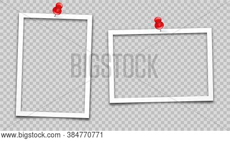 Realistic Empty Photo Card Frame, Film Set. Retro Vintage Photograph. Digital Snapshot Image. Templa