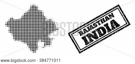 Halftone Map Of Rajasthan State, And Scratched Watermark. Halftone Map Of Rajasthan State Generated