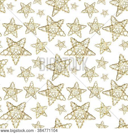 Seamless Pattern With Christmas Decoration Wicker Star Made Of Rattan On White Background