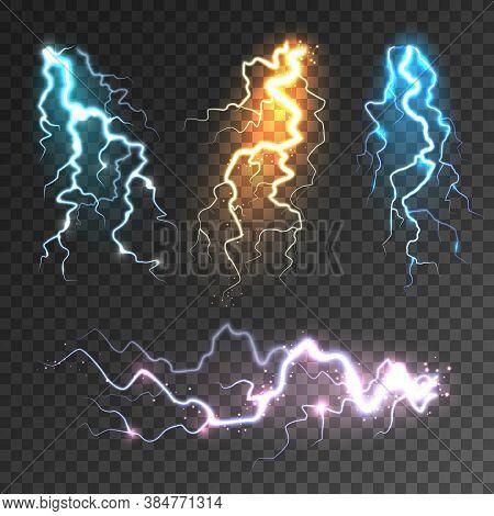 Realistic Lightning Collection On Transparent Background. Thunderstorm And Lightning Bolt. Sparks Of
