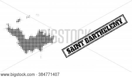 Halftone Map Of Saint Barthelemy, And Scratched Watermark. Halftone Map Of Saint Barthelemy Construc
