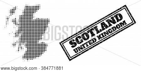 Halftone Map Of Scotland, And Unclean Seal Stamp. Halftone Map Of Scotland Constructed With Small Bl