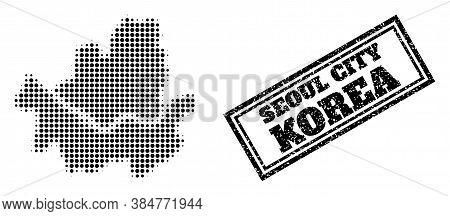 Halftone Map Of Seoul Municipality, And Scratched Seal. Halftone Map Of Seoul Municipality Designed