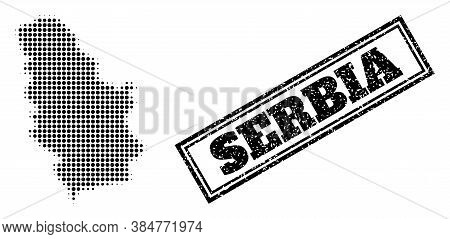 Halftone Map Of Serbia, And Dirty Seal. Halftone Map Of Serbia Designed With Small Black Spheric Dot