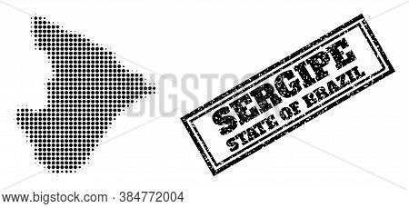 Halftone Map Of Sergipe State, And Unclean Watermark. Halftone Map Of Sergipe State Made With Small