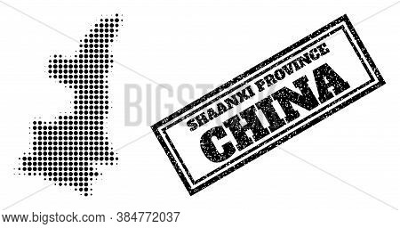Halftone Map Of Shaanxi Province, And Unclean Seal Stamp. Halftone Map Of Shaanxi Province Made With