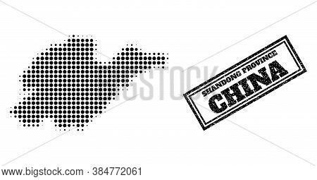Halftone Map Of Shandong Province, And Scratched Watermark. Halftone Map Of Shandong Province Design