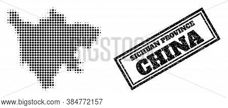 Halftone Map Of Sichuan Province, And Unclean Watermark. Halftone Map Of Sichuan Province Constructe
